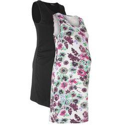 Sukienka shirtowa ciążowa (2 szt. w opak.) bonprix matowy srebrny z nadrukiem + czarny