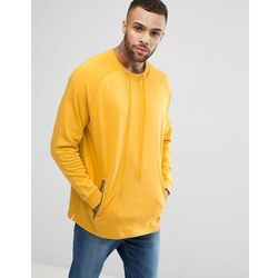 ASOS Oversized Longline Sweatshirt With Drawcord Neck - Yellow