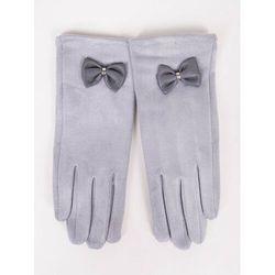 Rękawiczki dziewczęce zamszowe jasnoszare skórzana kokardka 21