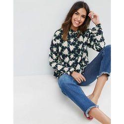 ASOS Shirt with Ruffle Hem in Floral Print - Multi