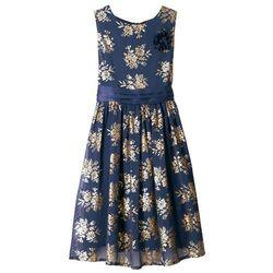 Sukienka dziewczęca na uroczyste okazje bonprix niebiesko-złoty