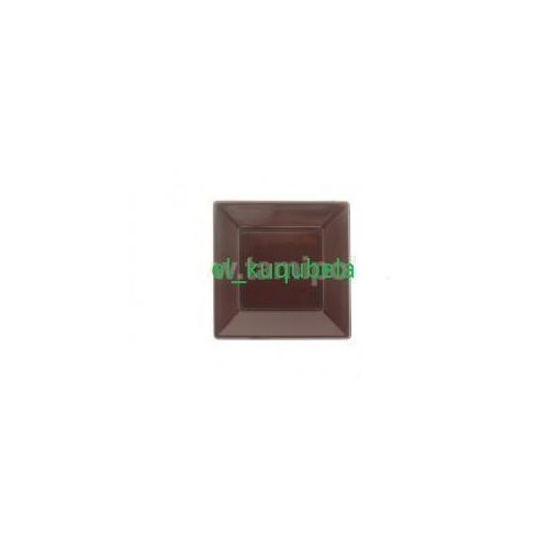 Naczynia jednorazowe, TALERZE DESEROWE PLASTIKOWE 18x18 cm czekolada