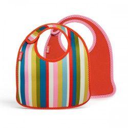 Rovens.pl BUILT Mess Mate - 2 śliniaki dla dzieci (Baby Pink Stripe)
