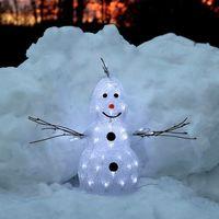 Ozdoby świąteczne, Mała zewnętrzna figura LED Crystal Snowman