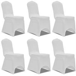 vidaXL Biały elastyczny pokrowiec na krzesło, 6 szt. Darmowa wysyłka i zwroty