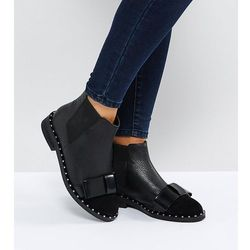 ASOS AUBREY Wide Fit Leather Bow Ankle Boots - Black