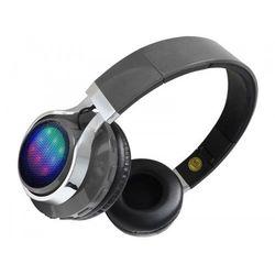 Bezprzewodowe słuchawki bluetooth szare LED