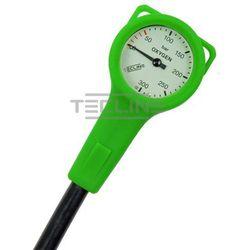Manometr TecLine O2 300 BAR, zielona obudowa, wąż 15 cm