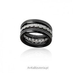 ankabizuteria.pl Pierścionek srebrny z czarną ceramiką i cyrkoniami trzy razem lub