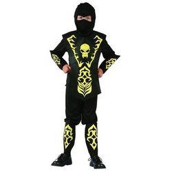 Kostium Ninja żółty z czaszką - S - 110/120 cm