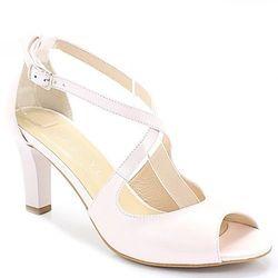KOTYL 4325 RÓŻ PERŁA - Taneczne sandałki ślub - Beżowy ||Różowy