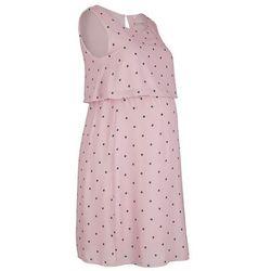 Sukienka ciążowa i do karmienia bonprix matowy jasnoróżowy -czarny w kropki