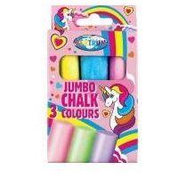 Pozostałe artykuły szkolne, Kreda kolorowa Jumbo Unicorn 3szt 80390