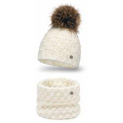 Modny zimowy komplet damski- czapka i komin PaMaMi - Ecru