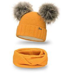 Komplet PaMaMi, czapka i komin - Miodowy - Miodowy