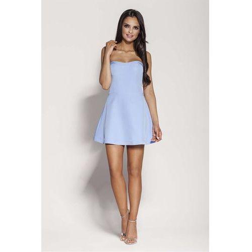 Suknie i sukienki, Niebieska Mini Sukienka z Odkrytymi Ramionami
