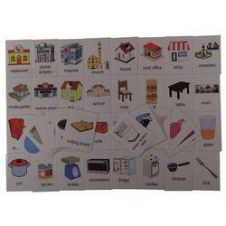 Duży zestaw kart edukacyjnych: Budynki/ Pomieszczenia domowe/Akcesoria - wersja w j. angielskim