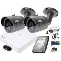 Zestawy monitoringowe, ZM11835 Zestaw do monitoringu 2 kamery IR 30m Rejestrator Hikvision FullHD Dysk 1TB