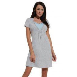 Koszula nocna ciążowa i do karmienia - Melanż-Błękit kr. rękaw