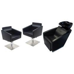 Zestaw Mebli Fryzjerskich - Myjnia Vasto Z Czarną Misą + 2 x Fotel Siena