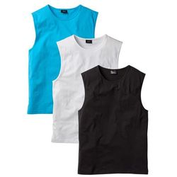 Shirt bez rękawów (3 szt.) Regular Fit bonprix biały + turkusowy + czarny