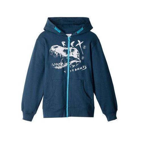 Bluzy dla dzieci, Bluza chłopięca rozpinana z nadrukiem i nadrukiem bonprix ciemnoniebieski z nadrukiem
