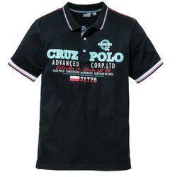 Shirt polo z nadrukiem bonprix czarny