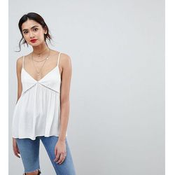 ASOS DESIGN TALL Crinkle Cami with Lace Insert - White