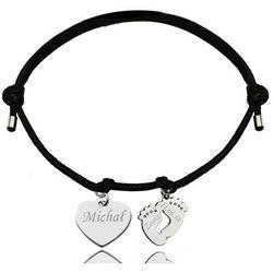 BR997 bransoletka personalizowana serce stópki na sznurku