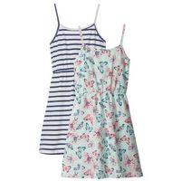Sukienki dziecięce, Sukienka letnia (2 szt.) bonprix niebieski w paski + pastelowy miętowy z nadrukiem