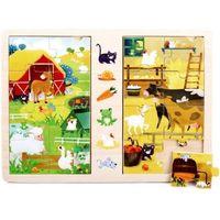 Zabawki z drewna, Gra i puzzle drewniane TOP BRIGHT - Na wsi, 2 x 8 elementów - DARMOWA DOSTAWA OD 250 ZŁ!!