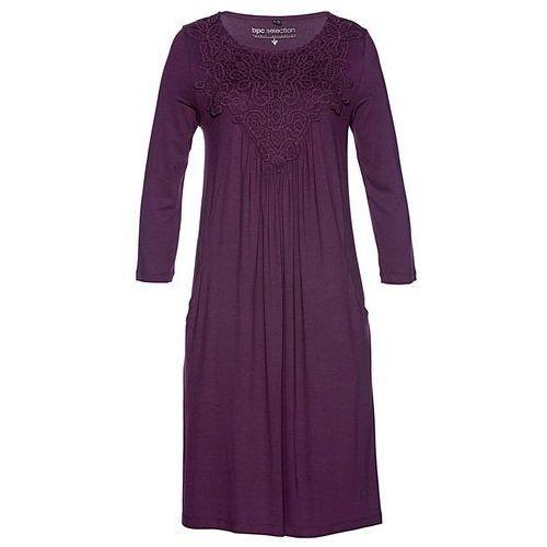 Suknie i sukienki, Sukienka shirtowa Premium z koronką bonprix czarny bez