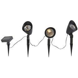 Zestaw 3-pinowych spotów czarnych z diodą LED IP44 solar - Sunshine