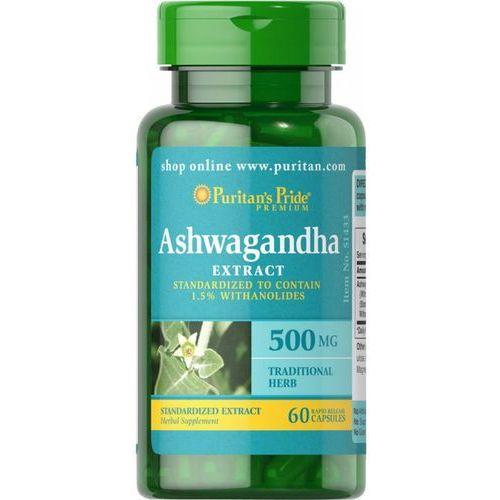 Preparaty ziołowe, Ashwagandha ekstrakt 500mg 60 kapsułek Puritan's Pride