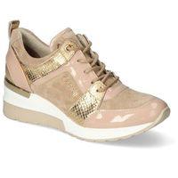 Damskie obuwie sportowe, Sneakersy Carinii B5124-O31-O17-P11-D48 Beżowe/Złote lakier+nubuk