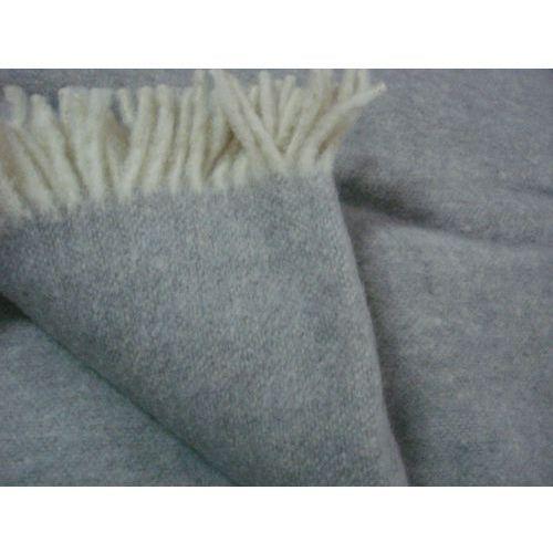Koce i pledy, Koc wełniany 100% wełna jednobarwny z frędzlami szary
