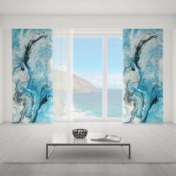 Zasłona okienna na wymiar - MIX OF BLUE AND WHITE PAINT