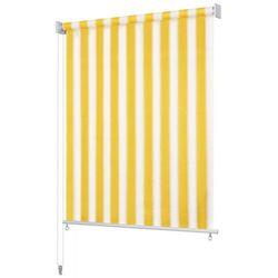 Roleta zewnętrzna, 160x140 cm, żółto-białe pasy