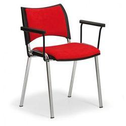 Krzesła konferencyjne SMART - chromowane nogi, z podłokietnikami, czerwony