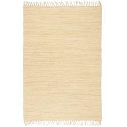Ręcznie tkany dywanik Chindi, bawełna, 160x230 cm, kremowy