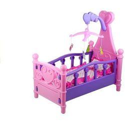 Duże łóżeczko dla lalki z karuzelą i pościelą - Lean Toys