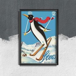 Plakat vintage do salonu Plakat vintage do salonu Pingwin Narciarski Stoos Szwajcaria