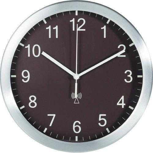 Zegary, Zegar ścienny analogowy TFA 98.1091.08 Sterowany radiowo, brązowy, (ØxG) 25 cmx4 cm