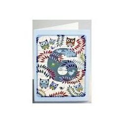 Karnet pm796 wycinany + koperta urodziny 6 sowy