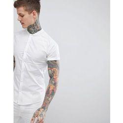 ASOS DESIGN Skinny Shirt With Baseball Collar In White - White