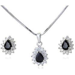 KPL 599/568 komplet kolczyki i wisiorek z czarnymi łezkami plus łańcuszek, srebrny
