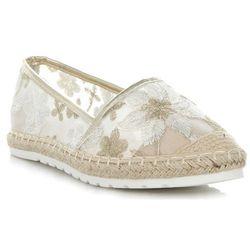 Stylowe Espadryle Damskie we wzór w kwiaty marki Ideal Shoes Złote (kolory)