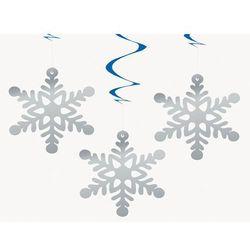 Dekoracja wisząca świderki Płatki śniegu - 68 cm - 3 szt.