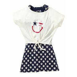Sukienka dziewczęca + shirt z przewiązaniem (2 części) bonprix ciemnoniebiesko-biel wełny z nadrukiem
