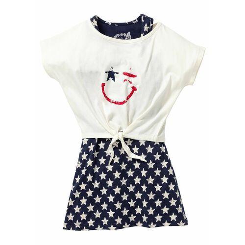 Zestawy odzieżowe dziecięce, Sukienka dziewczęca + shirt z przewiązaniem (2 części) bonprix ciemnoniebiesko-biel wełny z nadrukiem
